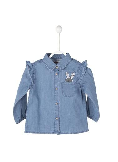 Silversun Kids Açık Cepli Tavşan Baskılı Kolları Fırfır Detaylı Kot Gömlek Gc 115058 Mavi